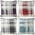 TARTAN CHECK CUSHION COVERS COTTON 18x18 TEAL RED GREY NATURAL PLUM
