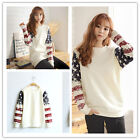 New Korean Women's T-shirt Hedging Loose Cotton Round Neck Sweater Female S-XL