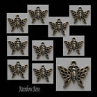 CHARM #814 TINY BUTTERFLY bulk 10, 50, 100 silver tone 22mm - crafts necklace