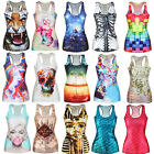 Women Summer Digital Print Gothic Punk T-Shirt Tank Tops Vest Shirts New Arrival
