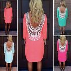2016 Women Sexy Lace Casual tops Party Evening Summer beach Mini Dress