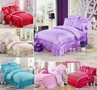 Luxury Princess Soft Bedding Duvet Cover And 2 Pillowcases Set Or Flat