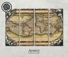Old world map, Large canvas art , ready to hang interior, wall decor on 4 panels