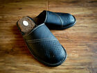 New Mens Black 100% Natural Leather Slippers Wool Size7 8 9 10 1112 Gift Present