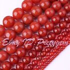 Round Orange Red Agate Smooth Gemstone For DIY Jewelry Mkaing Beads Strand 15""