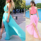 Fashion Maxi Dresses Cocktail Long Dresses Halter Pleated Cross Neck EW UK 04