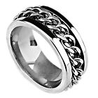 Top 316L Stainless Steel Silver Chain Spinner Ring for Men Fashion Men's Jewelry