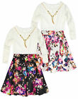 Girls Party Dress New Kids Long Sleeved Lace Top Scuba Skirt Dresses 2-10 Years