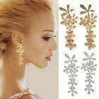 1 Pair Fashion Crystal Rhinestone Long Snowflake Flower Dangle Earrings Ear Stud