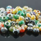 Wholesale Silver Big Hole Round Resin Charms European Bead Spacer Fit Bracelet
