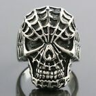 Men's Silver Stainless Steel Spider-Man Skull Head Punk Band Biker Rings US 9-13