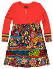 Girls Vibrant Floral Print Smock Dress New Kids Long Sleeved Dresses 2-7 Years