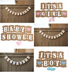 Lovely It's a Girl/Boy Baby Shower Banner Bunting Garland Rustic Chic Party Deco
