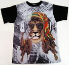 Reggae Rasta Lion Sublimation T-shirt Marijuana Urban Hip Hop Adult S-XL New