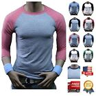 Men 3/4 Sleeve Baseball T-Shirt Tri- Blend Casual Slim Fit Crew Neck Hipster Gym image