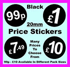 Retailers / Shop 20mm Black Price Point Stickers / Sticky / Swing Tag Labels £1