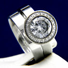 New 4.68 CT Clear Solitaire CZ Engagement 316L Stainless Steel Wedding Ring Set