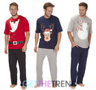 Mens Cargo Bay Xmas Novelty Santa Outfit Reindeer Pyjamas Short Sleeve Top Pants