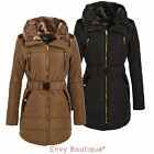NEW WOMENS LADIES PUFFER BELTED LONG QUILTED FUR COLLAR PARKA JACKET COAT 8-16