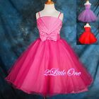 Rhinestone Wedding Flower Girl Tulle Dress Pageant Party Occasion Size 2T-9 #164