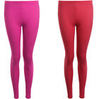 Womens Block Colour Plain Fuchsia Coral Casual Stretch Party Leggings