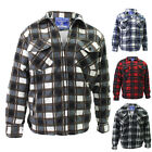 Mens Sherpa Fleece Padded Fur Lined Shirt Jacket Lumberjack Heavy Weight Winter