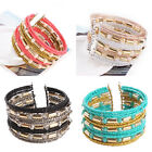 Vogue Women's Adjustable Multilayer Crystal Beads Bangle Cuff Bracelet Jewelry