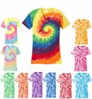 LADIES TIE DYE T-SHIRT, V-NECK, COTTON PRESHRUNK, TYE DIE, DIED XS-L XL 2X 3X 4X