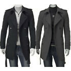 MEN'S CASUAL WINTER WARM TRENCH COAT DOUBLE BREASTED WOOL JACKET OVERCOAT TOPS