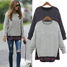 Womens Oversized Plaid Casual Jumper Tops Warm Sweatshirt Sweater Pullover S-5XL