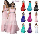 New Beaded Long Chiffon Bridesmaid Formal Gown Ball Evening Prom Party Dress