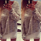 New Womens Long Sleeve Crew Neck Lace Floral Jumper Pullover Tops Blouse Sweater