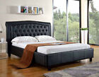 NEW BRANTLEY CONTEMPORARY WHITE or BLACK TUFTED BYCAST LEATHER QUEEN KING BED