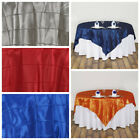 """6 pcs 85x85"""" Square Pintuck TABLE OVERLAYS Wedding Party Fancy Wholesale Linens"""