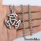 Mens Chain Silver Stainless Steel Irish Triquetra Celtic Knot Pendant Necklace