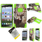 ZTE Lever Z936L Dual Layer T-Stand Impact Armor Hybrid Rubber Cover Case + Film