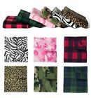 PRINTED FLEECE BLANKET, CAMOUFLAGE CAMO, PLAID, ANIMAL PRINTS, MEDIUM WEIGHT