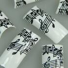 Black White Musical Notes Fashion Design False French Acrylic Nail Tips New