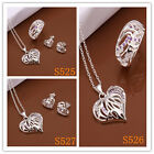 925Sterling Silver jewelry Zircon Hollow Heartt Necklace Earrings +R SB525