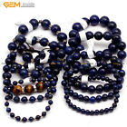 "Dyed Genuine Lapis Lazuli Stone Beads Beaded Stretch Bracelet 7 1/2"" Wholesale"