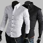 New Small Polka Dot Casual Men's Shirts Top Fashion Long Sleeve Sl