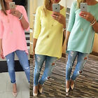 Autumn Women 3/4 Long Sleeve Solid Pullover Cotten Tops Blouse Shirt  UK 6-16