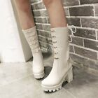 Roman Riding Boots Lace Up Chunky High Heel Platform Motorcycle Womens Shoes Sz
