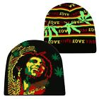RASTA Bob Marley Black Back / Striped Weed Leaf One Love All Over Beanie Cap
