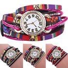 Women's  New Classic Colorful Rhinestone Knitted Band Bracelet Wrist Watch
