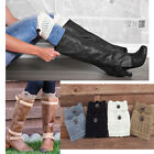 Women Lady Winter Leg Warmers Socks Button Cuffs Crochet Knit Boot Socks Toppers