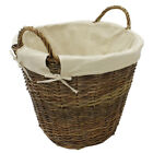 JVL Willow Wicker Fabric Lined Log Toy Storage Baskets with Willow Rope Handles