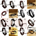 New Men Women Vintage Multilayer Leather Cross Bracelet Cuff Charm Bangle Nice