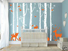 256cm Height Nursery Cot side Birch tree & Deers; Rabbits Removable wall decals
