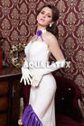 Sexy Rubber Latex Dress with Sweetheart Bust line and Ruffle Train Evening Gown